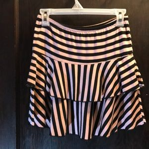Black striped pink soft skirt